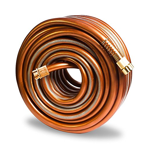 Greenbest Garden/Farm/Water Hose, Heavy Duty Kink Free, for Watering Lawn, Yard, Garden, Car Washing, Pet and Home Cleaning. 5/8 inch x 25, 50, 75 and 100 ft (Color: Coffee Gold) (50ft)