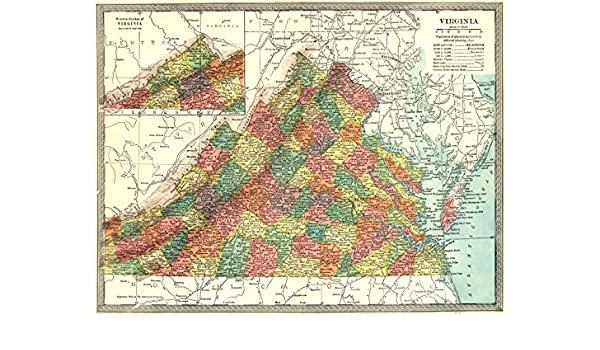 Amazon Com Virginia State Map Counties 1907 Old Map Antique