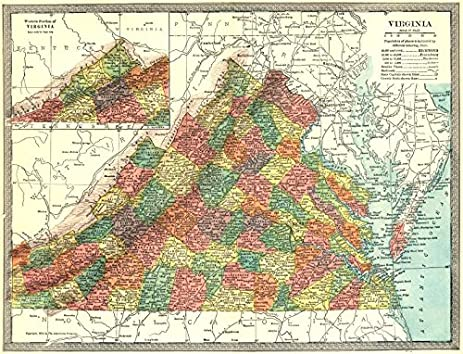 Amazoncom VIRGINIA State Map Counties Old Map Antique - Vintage map of virginia