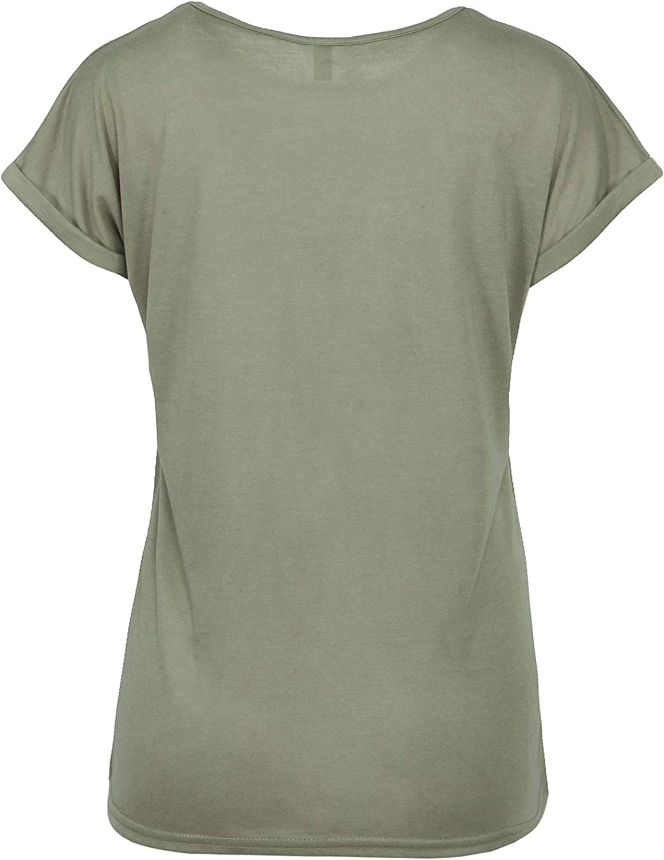 TrendiMax Damen T-Shirt Einfarbig Rundhals Kurzarm Sommer Shirt Locker Oberteile Basic Tops