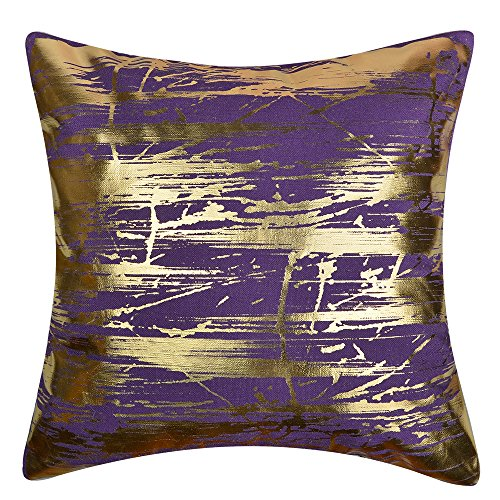 JW Gold Foil Accent Pillow Cases Lien Decorative Cushion Covers for Home Sofa Car Bed Room Decor Pillowcases 17 x 17 Inch Purple (Pillows Purple Green And Throw)