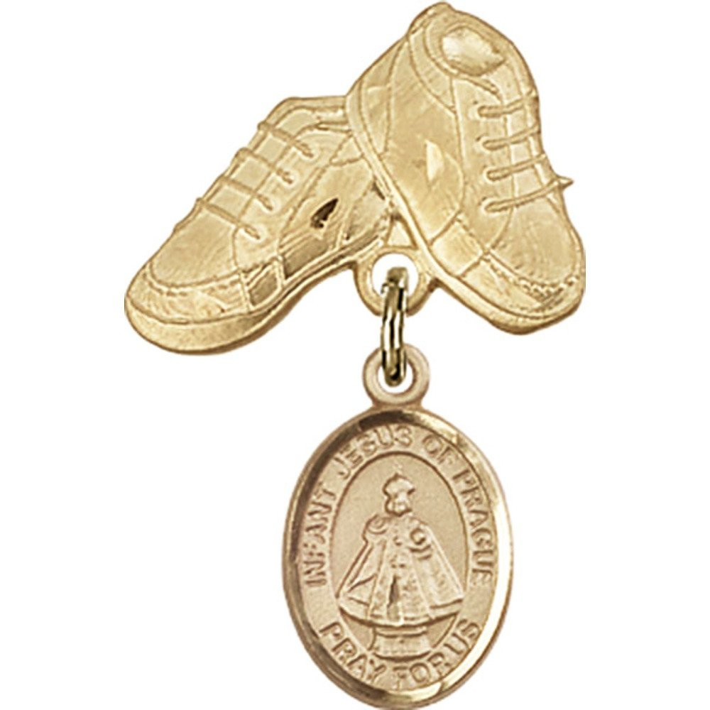 Gold Filled Baby Badge with Infant of Prague Charm and Baby Boots Pin 1 X 5/8 inches