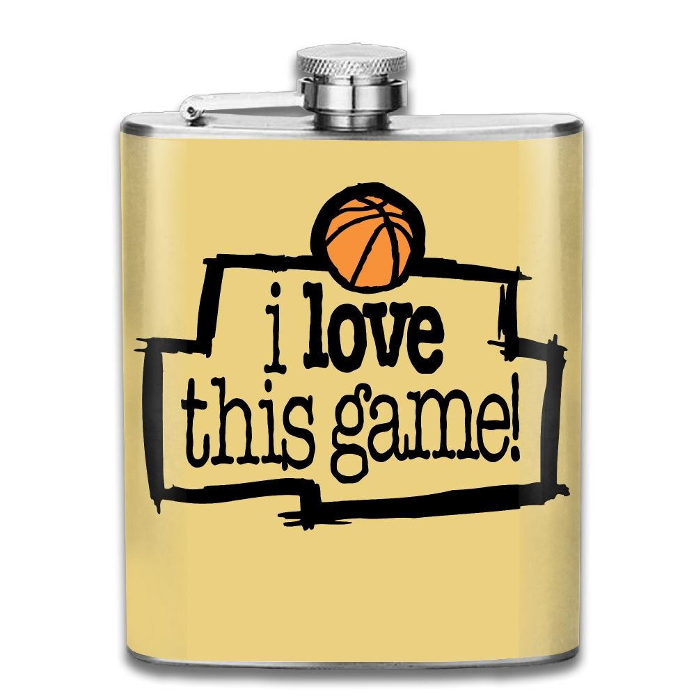 ヒップフラスコfor LiquorメンズI Loveこのゲームバスケットボールステンレススチールボトルユニセックス 7OZ ブラック SHIRLEY-LX-25407104 7OZ アッシュ B078V5PSLT