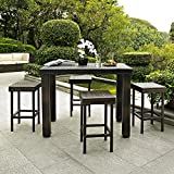 Crosley 5-Piece Palm Harbor Outdoor Wicker High Dining Set with Table and Four Stools For Sale