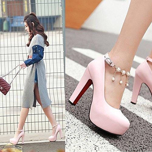 Scarpe E Rotonda Tacco Primavera Tavola Scarpe Sexy Sola Scarpa Le A Pink Coreano Alto Principessa Con KHSKX Dolce Spesso 8HvqwTE