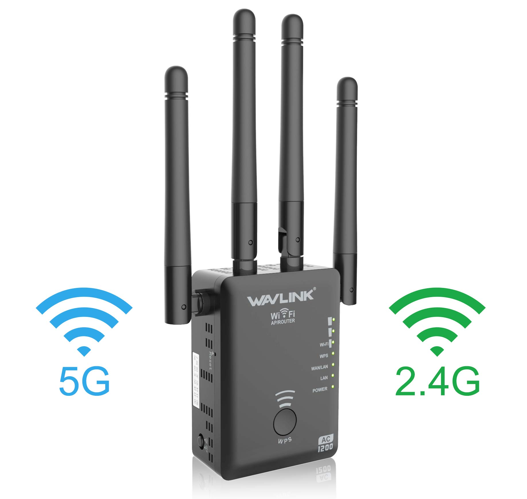 WiFi Range Extender, 1200Mbps WiFi Repeater Wireless Signal Booster, 2.4 and 5GHz 360 Degree Full Coverage WiFi Extender Signal Amplifier with AP/Repeater Mode / 4 Ethernet Antennas by UTOPB