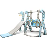 Kids Swing and Slide Set w/ Basketball Hoop & Music Player Kids Fun Slide Set for Indoor and Outdoors Playground Play…