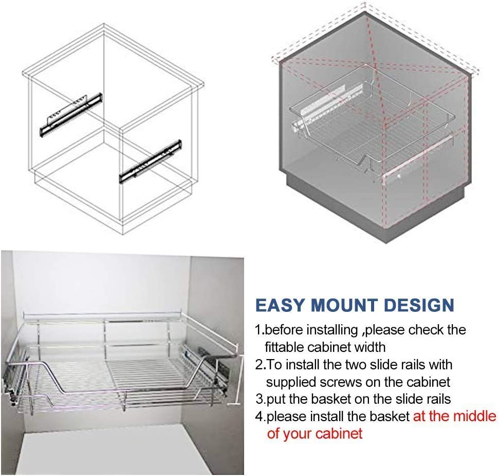 Cabinet Width Middle Install 54x48x15CM Sliding Under Cabinet Organizer Chrome Wire Cabinet Drawers Storage Basket for Kitchen Bathroom Cabinets Cupboards WENDONG Pull Out Cabinet Shelf