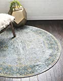 Unique Loom Baracoa Collection Bright Tones Vintage Traditional Gray Round Rug (5′ x 5′) For Sale