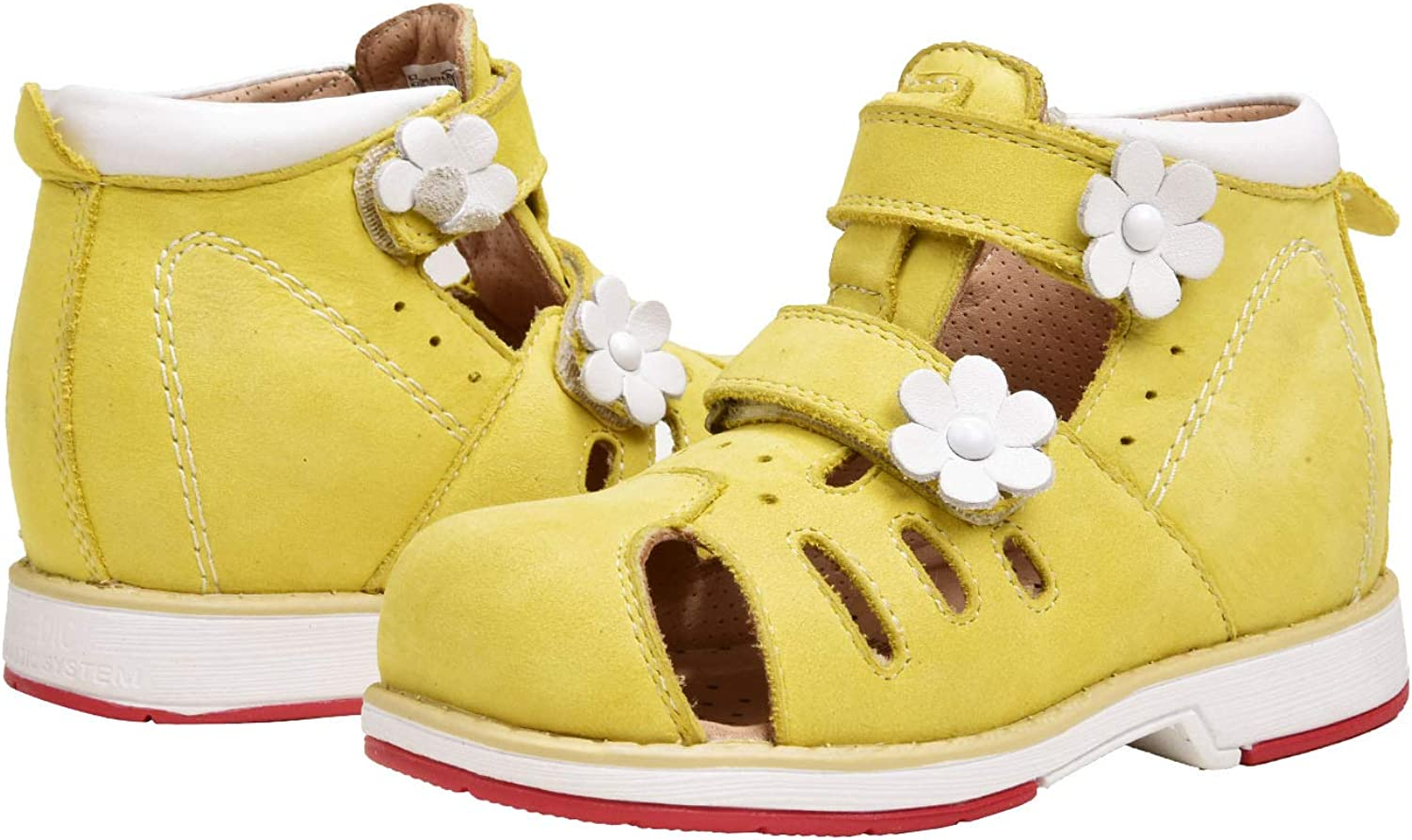 FREEDOMS KIDSS Health Shoes Orthopedic Fashion Yellow Leather Shoes with Arch Support for Girls