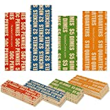 500 Flat Coin Roll Wrappers for U.S. Coins -125 Each of Penny, Nickel, Dime and Quarter Wrappers Separated and Color Coded to ABA Standards, Modern Style