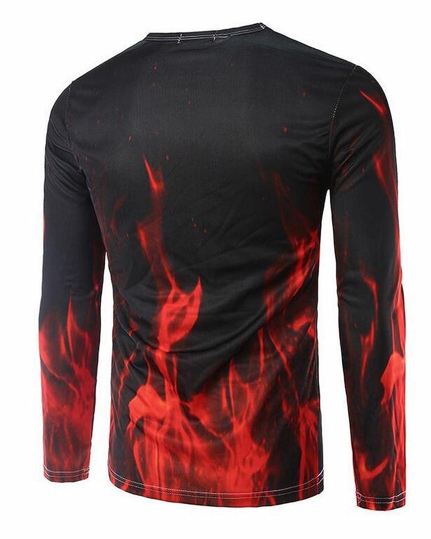 ASL Men Classic Flame Horse 3D Print Long Sleeve T Shirts
