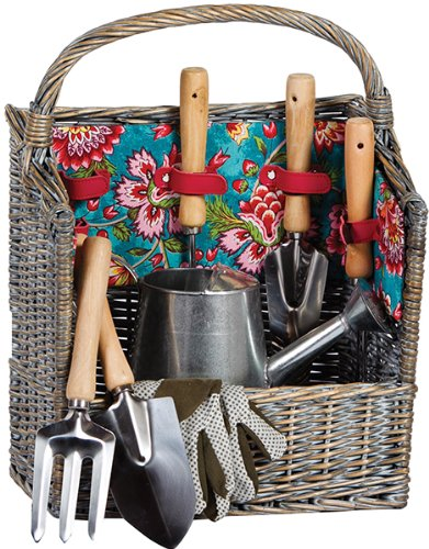8 Piece Garden Tool Willow Basket By Picnic - Seasons Basket All Picnic