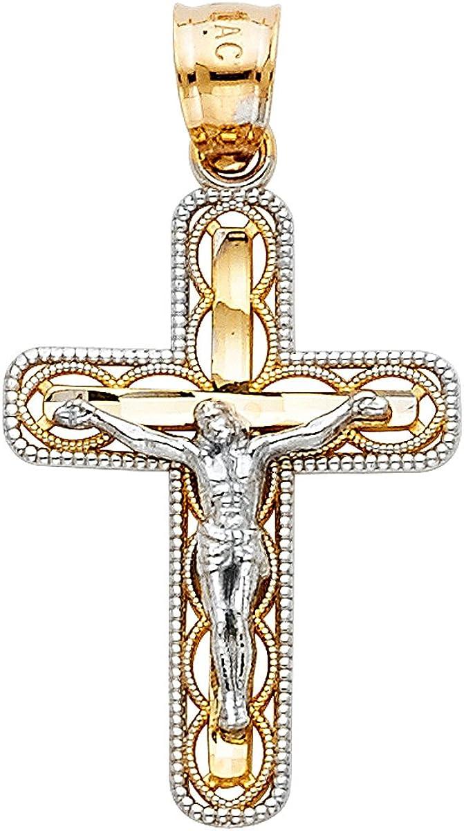 Men Women Gold Cross Pendant 14k Solid Yellow And White Jesus Christ 30 millimeters Length