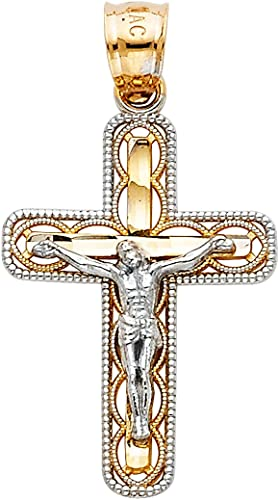 White YELLOW GOLD 2 Tone Plated Cross Jesus Christ Crucifix Pendant Chain Neckla