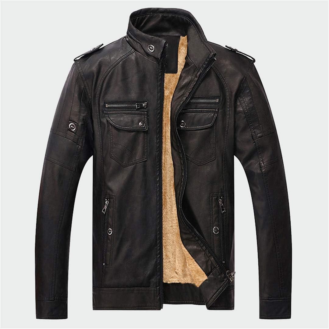 Mens Leather Jackets Warm Faux Fleece Plus Thick Coats Biker Motorcycle Velvet Windproof Outerwear
