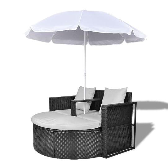 Canapé de 2 places rond noir avec le parasol Amazon Jardin