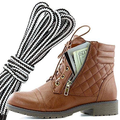 Dailyshoes Donna Militare Allacciatura Fibbia Stivali Da Combattimento Alla Caviglia Alta Tasca Esclusiva Per Carte Di Credito, Tan Bianco