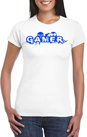 White Female Gildan Short Sleeve T-Shirt - Gamer – Blue design