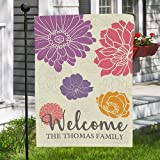 "GiftsForYouNow Personalized Welcome Floral Double Sided Garden Flag, Polyester, 12 1/2"" w x 18"" h"