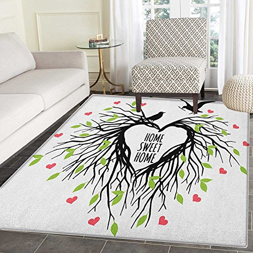 Tree of Life Non Slip Rugs Heart Shaped Bird Nest Sweet Home Quote Hope Family Partners in Nature Door Mats for inside Non Slip Backing 3'x4' Black Green Pink