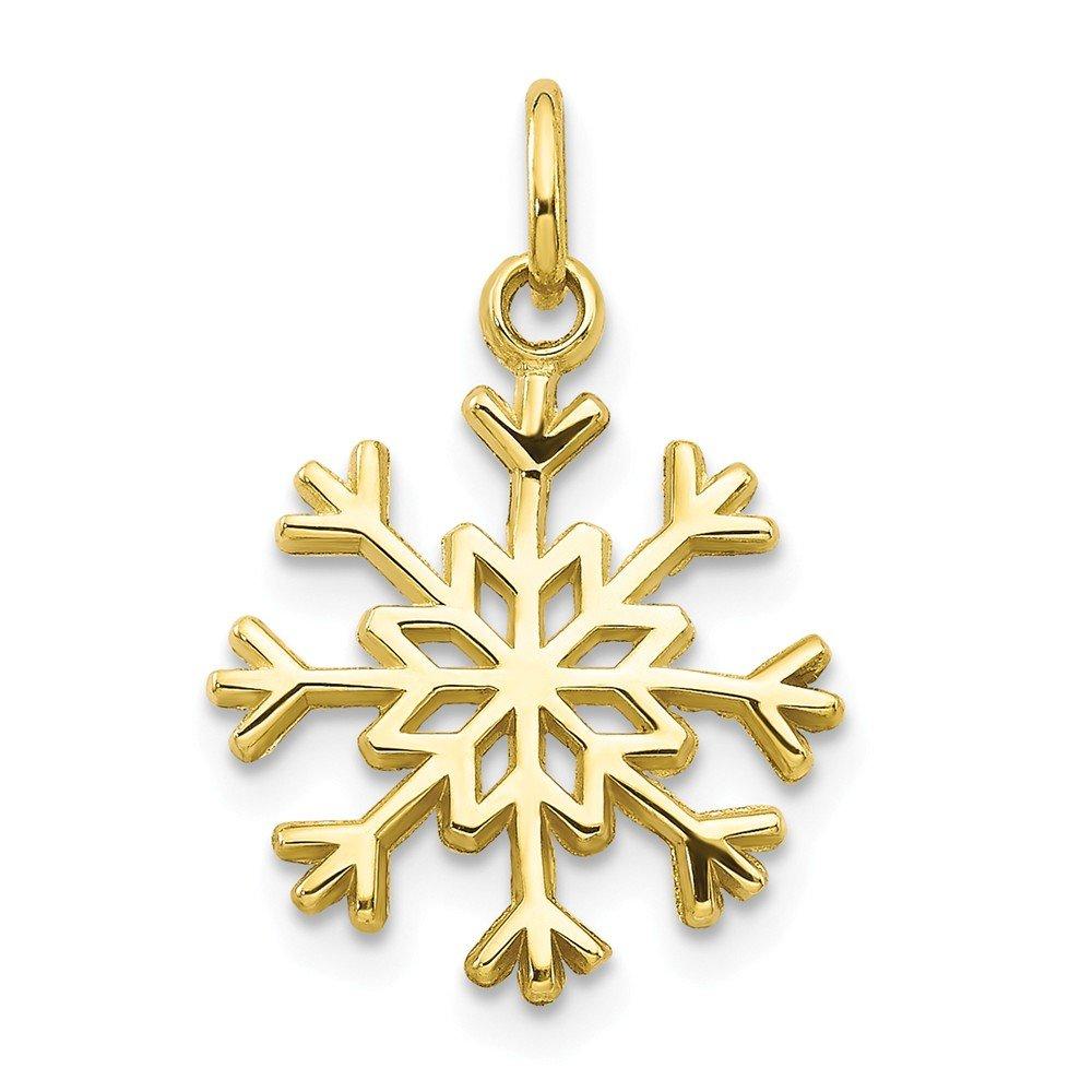 20mm x 21mm Mia Diamonds 10k Yellow Gold Solid Polished Snowflake Charm