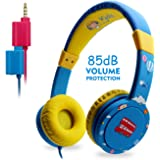 Kids Headphones, [2019 Newest] EasySMX KM-669 Wired Over Ears Kids Headset with Mic, In Line Control, 85db Volume Limiting, Child-Friendly ABS, with 3.5mm Aux Jack for Children (Blue)