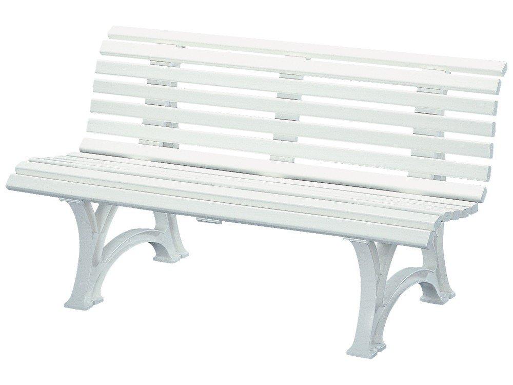 Gartenbank weiß 3-sitzige Parkbank Kunststoff weiß Design Helgoland