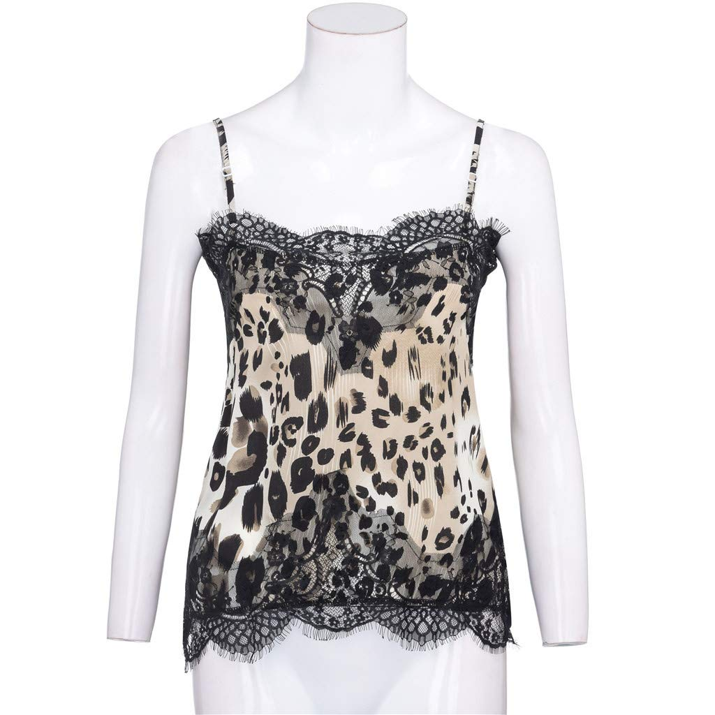 Corriee Stylish Vests for Women Sexy Lace Patchwork Leopard Print Camisole Summer Trendy Tank Tops Blouse Brown by Corriee (Image #4)