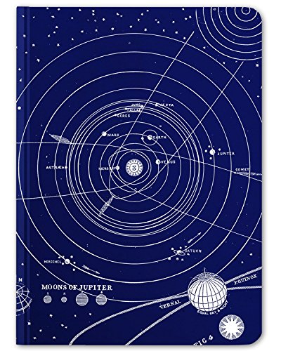 Solar System Notepad - Cognitive Surplus Solar System Blank & Lined Hardcover Journal, Large, Blue