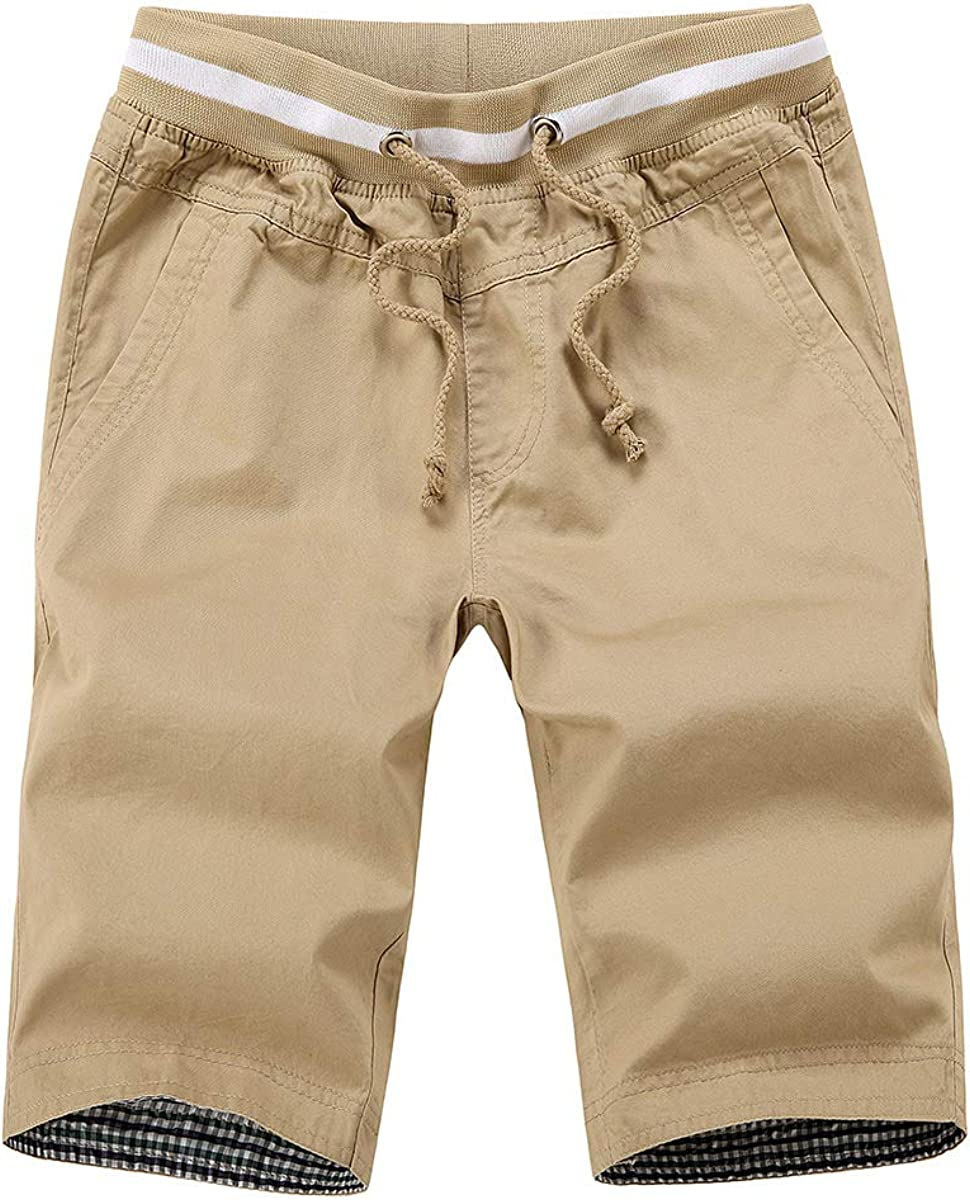 Big Boys Casual Shorts Summer Cotton Classic Fit Drawstring Elastic Waist Beach Shorts with Pockets