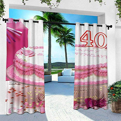 Hengshu 40th Birthday, Fashions Drape,Pink Cream Cake with Candlesticks Present and Surprise Party Theme, W96 x L96 Inch, Pink White and Red