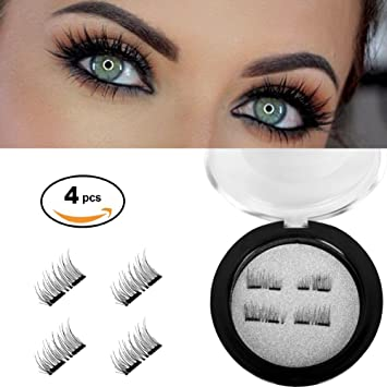 6d3f16e587e Amazon.com : Upgraded Fake Double Magnetic Eyelashes 3D Reusable magnetic  natural false Eyelashes-Ultra Thin Black and Brown 1 Pair, 4 pieces (double  ...