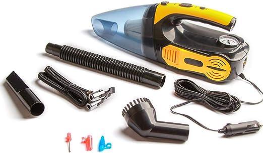 PXQ Bomba de inflado de neumáticos 4 en 1, Aspirador de Doble Uso para Mojado/seco, Compresor de Aire de Mano DC 12V con Accesorios de Herramientas múltiples para inflar y Limpiar automóviles,Yellow: