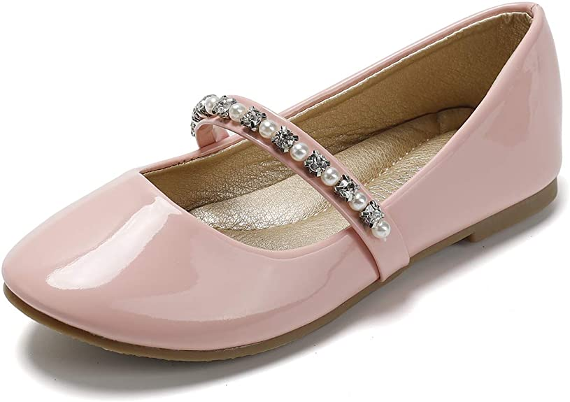 SANDALUP Little Girls Dress Shoes Ballet Flats Inlaid with Pearl and Rhinestone Strap Patent Pink 01 best girls' spring dress shoes