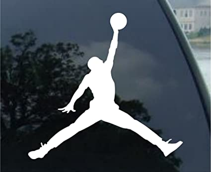 Air jordan nike jumpman logo vinyl sticker decal white 4 inch