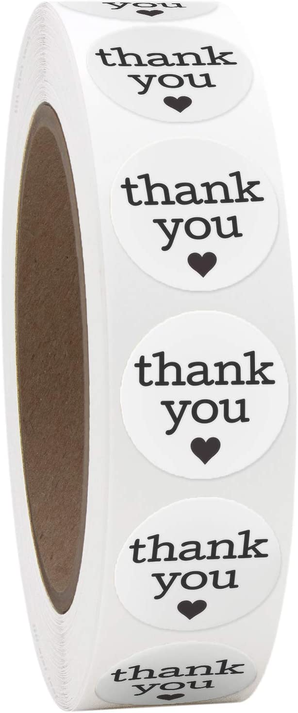 1 Inch Round Thank You Labels with Black Hearts, 1000 Stickers per Roll