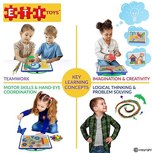 ETI Toys | Lace and Pegs with Board for 3, 4, 5 Yr Boys and Girls, 368 Pieces, Endless Drawings! 100% Non-Toxic Safe Materials, Fun Learning, Creativity & Skills Development! Best Gift for 3 - 5 Yrs.