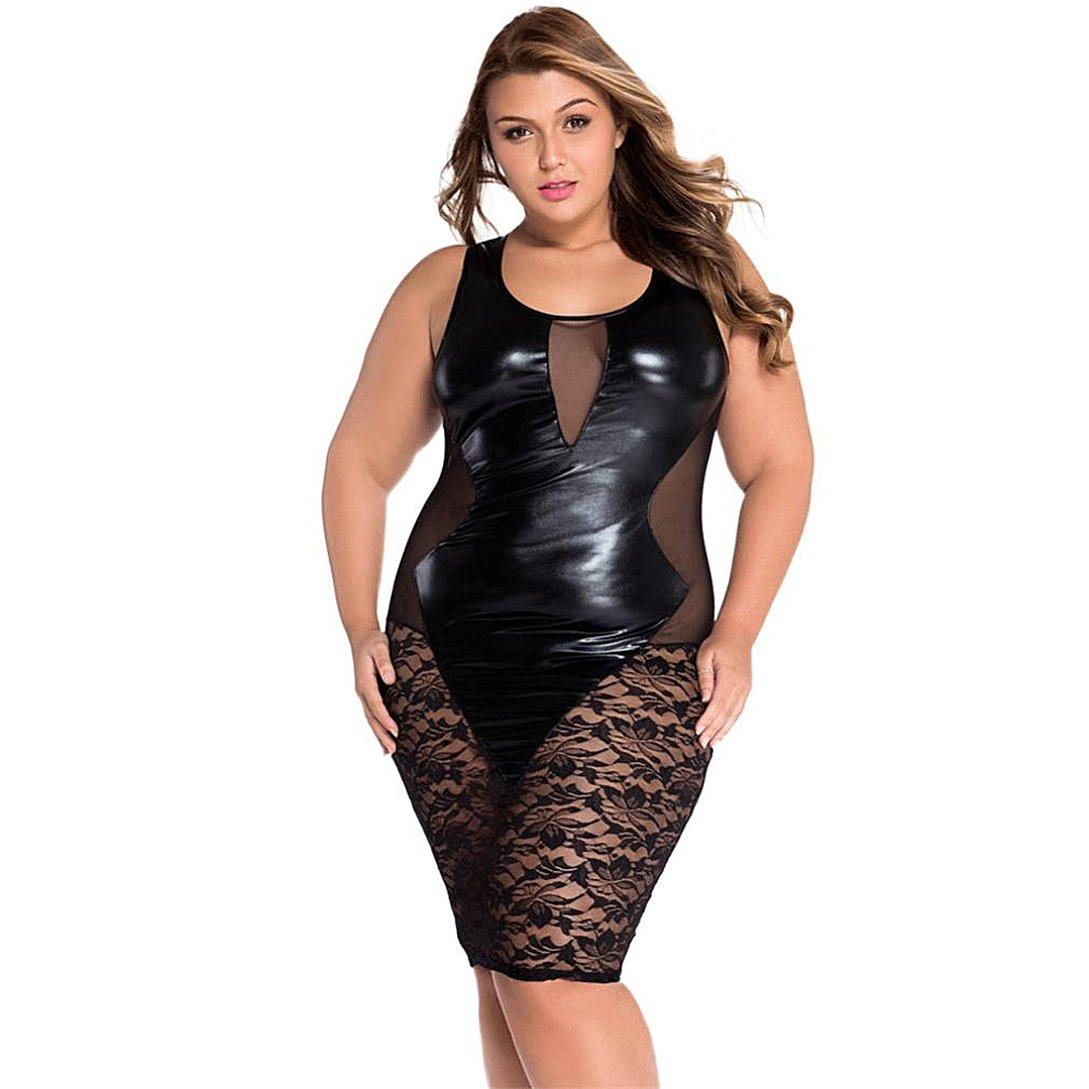 Lingerie Sexy,Kword Donne Sexy Clubwear Dress Senza Maniche Nero Ecopelle Floreale Pizzo Maglia Notte Vestito Partito  -