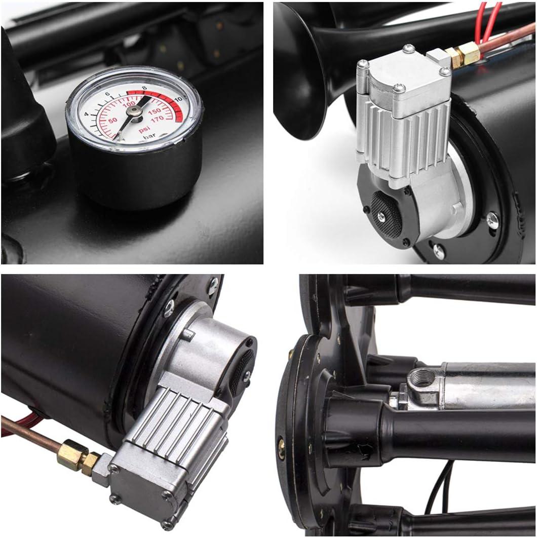 4 Horn car Truck Train air Horn 150 PSI 150db air System with 3L 12V air Compressor
