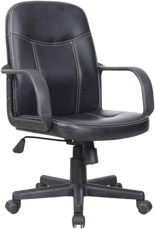 SILLA Fauteuil de bureau - Simili noir - Contemporain - L 58 x P 46 cm