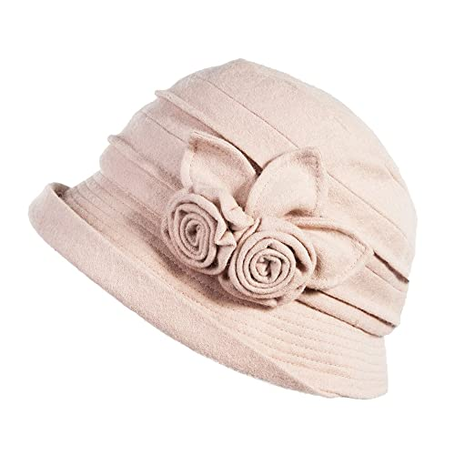 1920s Style Hats SIGGI Cloche Round Hat For Women 1920s Fedora Bucket Vintage  Hat Flower Accent 1a425e449a9e