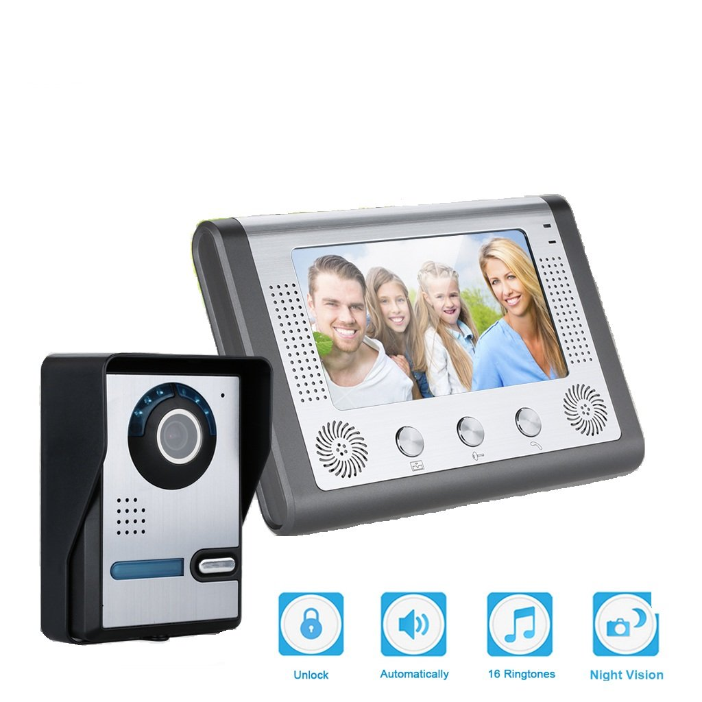 Kit de Timbre Digital con cámara FLOUREON Timbres para Puerta Videoportero(1 Monitor de 7