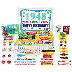 Woodstock Candy ~ 1948 70th Birthday Gift Box Nostalgic Retro Candy Mix from Childhood for 70 Year Old Man or Woman Born 1948