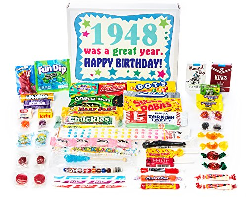 Woodstock Candy 1948 70th Birthday Gift Box - Retro Nostalgic Candy Mix for 70 Year Old Man or - Charleston Gift Shops