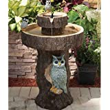 Smart Living Home and Garden 34253RM1 Owl 2-Tier on Demand Fountain with Integrated Panel and Water Pump, Designed For Low Maintenance and Requires No Wiring or Operating Costs