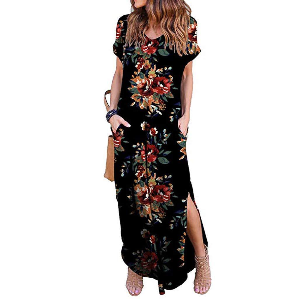 Lloopyting Women's Print Casual Loose Pocket Long Straight Dress Short Sleeve V-Neck Fashion Maxi Dress Black