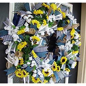 Country Blue Sunflower Wreath, Decor, Fall, Spring, Summer, Front Door, Burlap Wedding Farmhouse Decor, French Country Decor 56