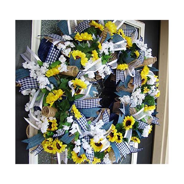 Country Blue Sunflower Wreath, Decor, Fall, Spring, Summer, Front Door, Burlap Wedding Farmhouse Decor, French Country Decor