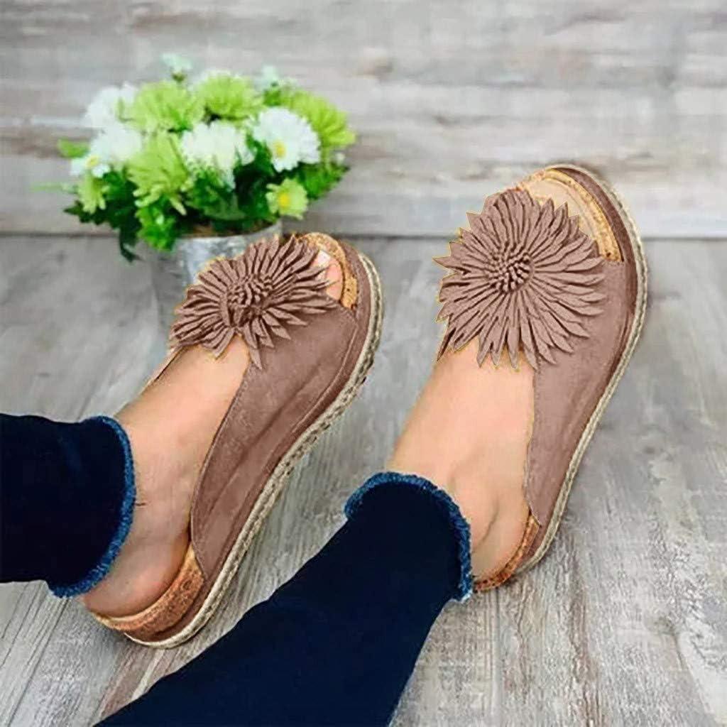 Womens Flat Slippers Chrysanthemum Open Toe Thick Bottom Non-Slip Bohemia Casual Sandals Shoes Chaofanjiancai
